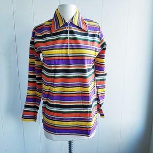 1970s Helen Sue Multi-Color Striped Shirt